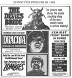 DETROIT FREE PRESS AD FOR THE RIVIERA & OTHER THEATRES