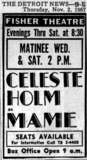 "Detroit Free Press ad for ""Mame"" Fisher Theatre"