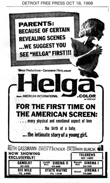 """Detroit Free Press ad for """"HELGA"""" at the State Wayne & other theatres"""