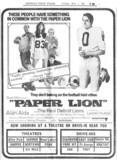 "Detroit Free Press ad for ""PAPER LION"" at the CARMEN Theatre and others"