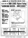 "Detroit Free Press ad for ""THE PRODUCERS"" at the CAMELOT & other theatres"