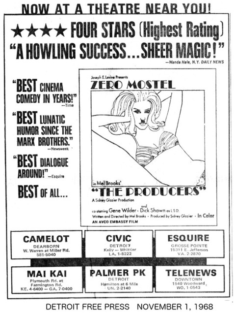 """Detroit Free Press ad for """"THE PRODUCERS"""" at the PALMER PARK & other theatres"""