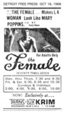 "DETROIT FREE PRESS ad for ""THE FEMALE"" - Trans Lux Krim"