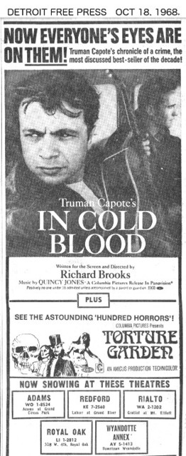 "Detroit Free Press ad for ""IN COLD BLOOD"" at the REDFORD & other theatres"