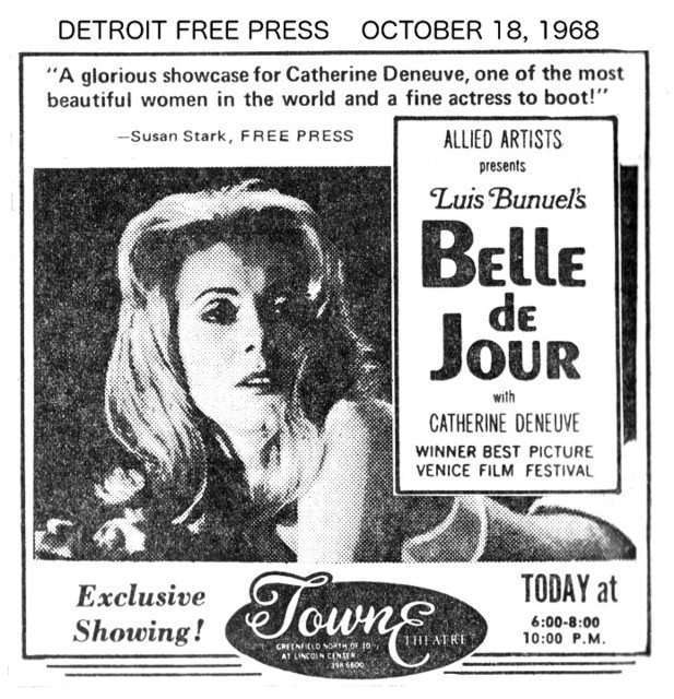 "DETROIT FREE PRESS AD for ""BELLE de JOUR"" at the TOWNE THEATRE"