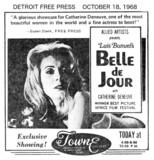"""DETROIT FREE PRESS AD for """"BELLE de JOUR"""" at the TOWNE THEATRE"""