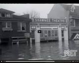 1937 image of the Shawnee Theatre. Unknown screen grab from the Great Flood of `37.