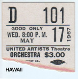 "TICKET STUB FOR ""HAWAII"" - UNITED ARTISTS THEATRE"