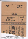 "TICKET STUB RESERVED SEATS ""THE LONGEST DAY"" APR 7, 1963"