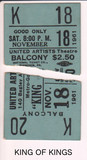 "TICKET STUBS FOR ""KING OF KINGS"""