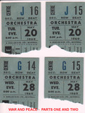 "RESERVED SEAT TICKET STUBS FOR RUSSIAN ""WAR AND PEACE"" PT 1 & 2"