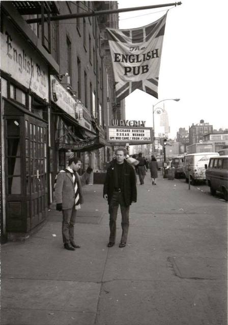 1966 photo of Simon & Garfunkel on Sixth Avenue in Greenwich Village, courtesy of Bob Greenhouse. Waverly in the background.