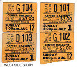 "RESERVED SEAT TICKET STUBS FOR ""WEST SIDE STORY"" MADISON THEATRE"