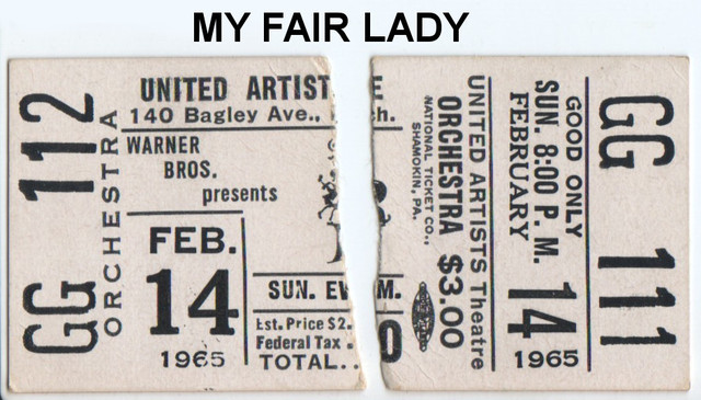 """RESERVED SEAT TICKET STUBS FOR """"MY FAIR LADY"""" - UNITED ARTISTS THEATRE"""