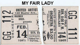 "RESERVED SEAT TICKET STUBS FOR ""MY FAIR LADY"" - UNITED ARTISTS THEATRE"