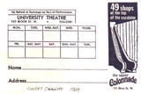 """RESERVED SEAT TICKET ENVELOPE FOR """"SWEET CHARITY"""" - UNIVERSITY THEATRE"""
