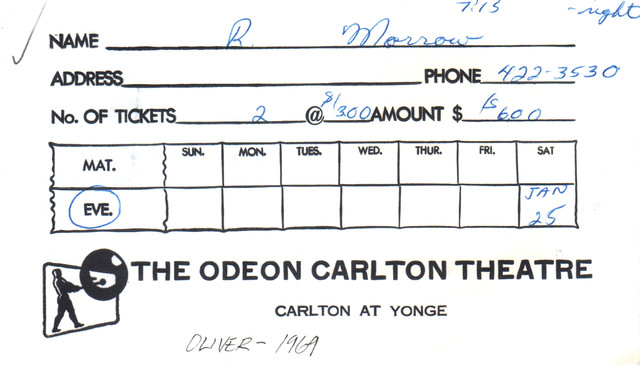 """RESERVED SEAT TICKET ENVELOPE FOR """"OLIVER"""" ODEON CARLTON THEATRE"""