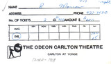 "RESERVED SEAT TICKET ENVELOPE FOR ""OLIVER"" ODEON CARLTON THEATRE"