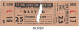 "RESERVED SEAT TICKET STUB FOR ""OLIVER"" - ODEON CARLTON THEATRE"