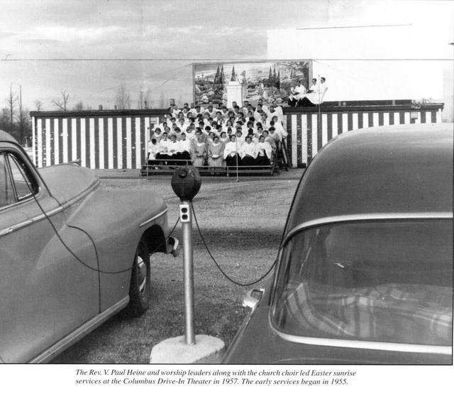Columbus Drive-In church service on a Sunday morning in 1957.
