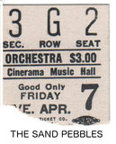 "RESERVED SEAT TICKET STUB ""THE SAND PEBBLES"" - MUSIC HALL CINERAMA"