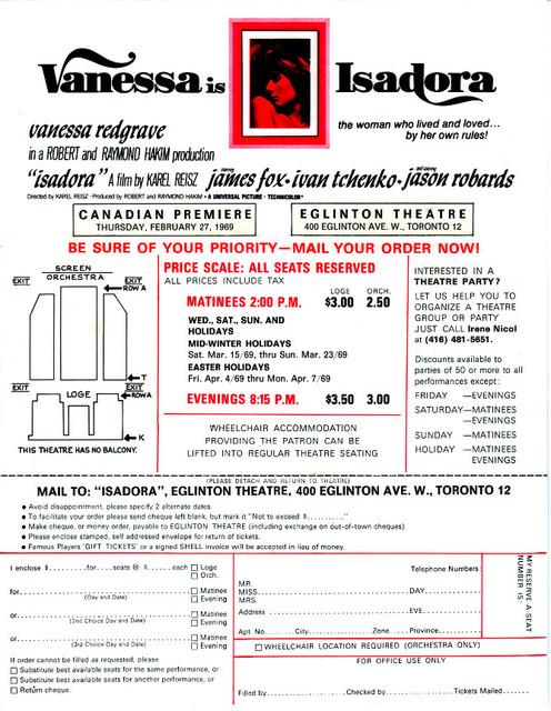 "RESERVED SEAT ORDER FORM ""ISADORA"" - EGLINTON THEATRE"