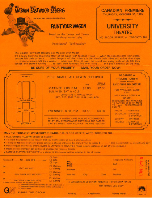 PAINT YOUR WAGON RESERVED SEAT ORDER FORM - UNIVERSITY THEATRE