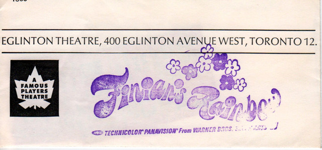 "RESERVED SEAT TICKET ENVELOPE FOR ""FINIAN'S RAINBOW"" EGLINTON THEATRE"