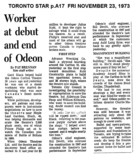 "Toronto Star ""WORKER AT ODEON CARLTON DEBUT"""