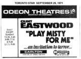 "TORONTO STAR AD ""PLAY MISTY FOR ME - ODEON CARLTON THEATRE"