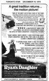"TORONTO STAR AD ""RYAN'S DAUGHTER"" - UNIVERSITY THEATRE"