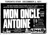"TORONTO STAR AD ""MON ONCLE ANTOINE"" - CINECITY"