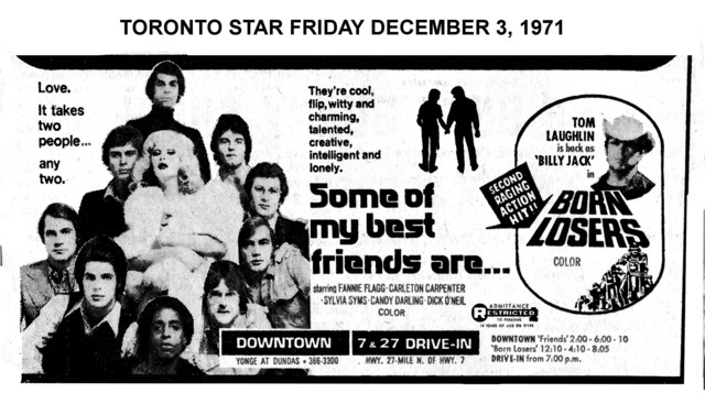 """TORONTO STAR AD FOR """"SOME OF MY BEST FRIENDS ARE"""" - DOWNTOWN THEATRE"""