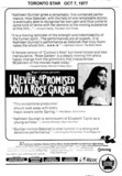 "TORONTO STAR AD FOR ""I NEVER PROMISED YOU A ROSE GARDEN"" UNIVERISTY AND OTHER THEATRES"