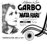"TORONTO STAR AD FOR ""MATA HARI"" - CREST THEATRE"