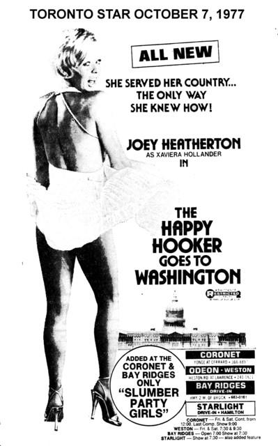 "TORONTO STAR AD FOR ""THE HAPPY HOOKER GOES TO WASHINGTON"" CORONET THEATRE"
