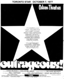 "TORONTO STAR AD FOR ""OUTRAGEOUS"" YORK 1"