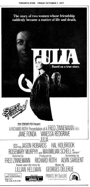 """TORONTO STAR AD FOR """"JULIA"""" PLAZA 1 THEATRE"""