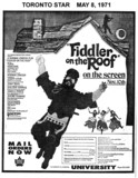 "TORONTO STAR AD FOR ""FIDDLER ON THE ROOF"" - UNIVERSITY THEATRE"