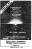 "TORONTO STAR AD FOR"" CLOSE ENCOUNTERS OF THE THIRD KIND"" - YORK THEATRE"
