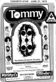 "TORONTO STAR AD FOR ""TOMMY"" - VARSITY THEATRE"