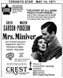 "TORONTO STAR AD FOR ""MRS. MINIVER"" - CREST THEATRE"