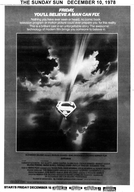 "THE SUNDAY SUN AD FOR ""SUPERMAN"" HOLLYWOOD AND OTHER THEATRES"