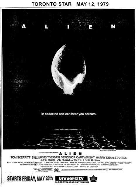 "TORONTO STAR AD FOR ""ALIEN"" - UNIVERSITY THEATRE"