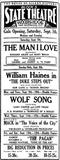 State Theatre Ad 9-6-29