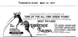 "TORONTO STAR AD FOR ""LAWRENCE OF ARABIA"" - CARLTON THEATRE"