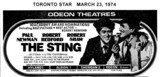 "TORONTO STAR AD FOR ""THE STING"" - HYLAND 1 AND OTHER THEATRES"