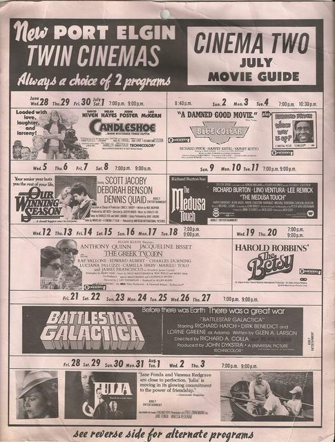 July 1978 Schedule for Screen II