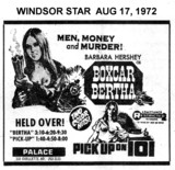 "WINDSOR STAR AD FOR ""BOXCAR BERTHA"" - PALACE THEATRE"