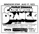"WINDSOR STAR AD FOR ""CLOCKWORK ORANGE"" DEVONSHIRE MALL THEATRE"